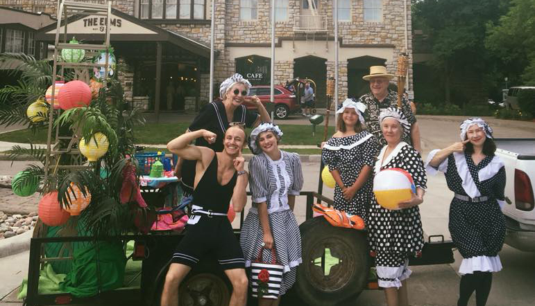 Cultural Guild volunteers dress up in 1920s swimwear for the Waterfest parade.
